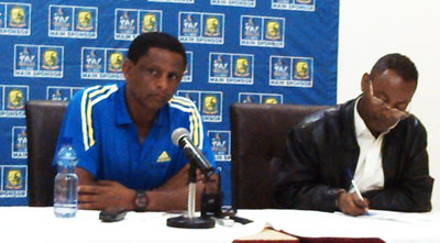 Head Coach Yohanse Sahle briefing journalists for the Congo game